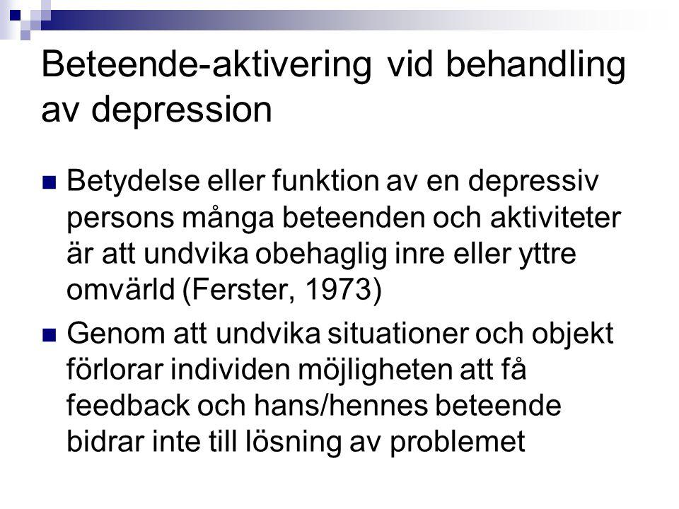 Beteende-aktivering vid behandling av depression