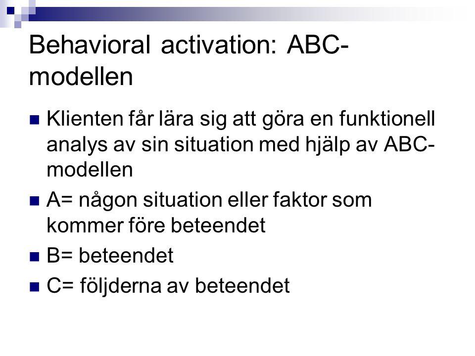 Behavioral activation: ABC-modellen