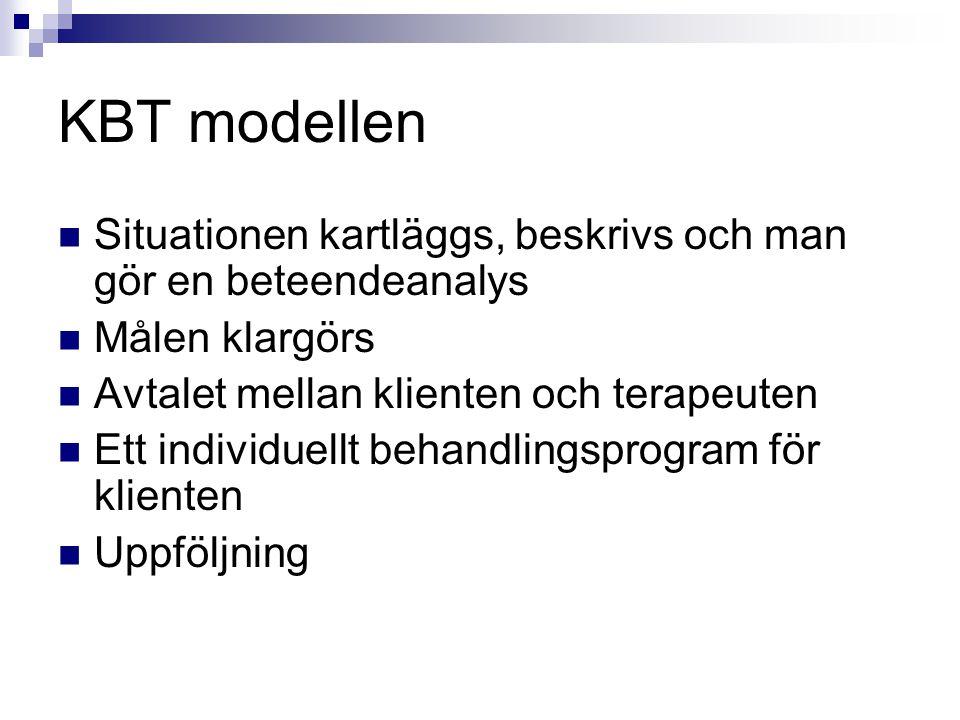 KBT modellen Situationen kartläggs, beskrivs och man gör en beteendeanalys. Målen klargörs. Avtalet mellan klienten och terapeuten.