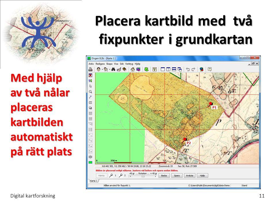 Placera kartbild med två fixpunkter i grundkartan