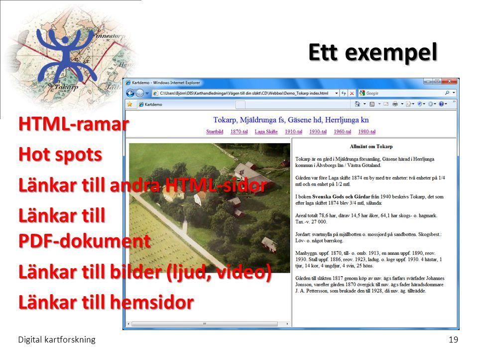 Ett exempel HTML-ramar Hot spots Länkar till andra HTML-sidor