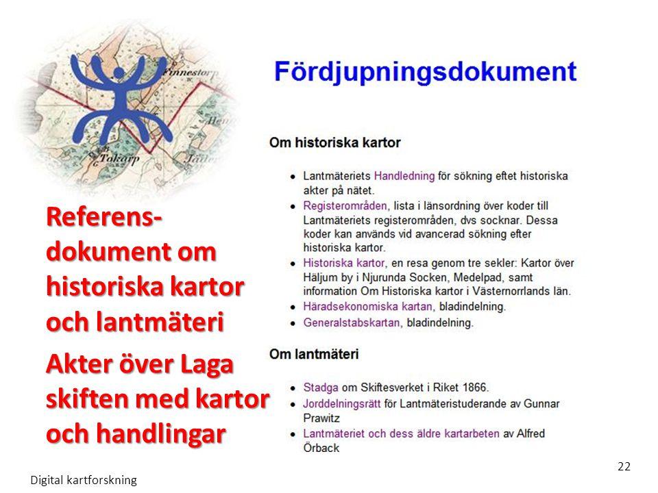 Referens- dokument om historiska kartor och lantmäteri