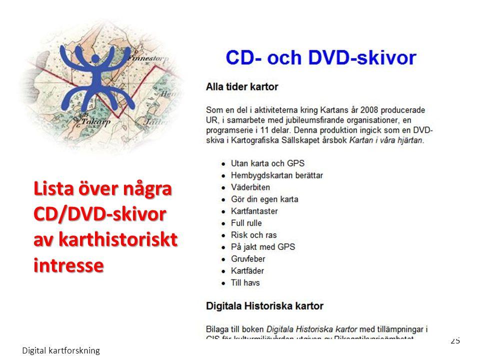Lista över några CD/DVD-skivor av karthistoriskt intresse