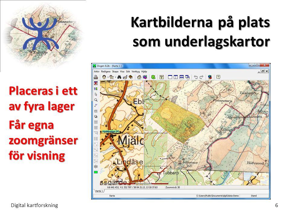 Kartbilderna på plats som underlagskartor