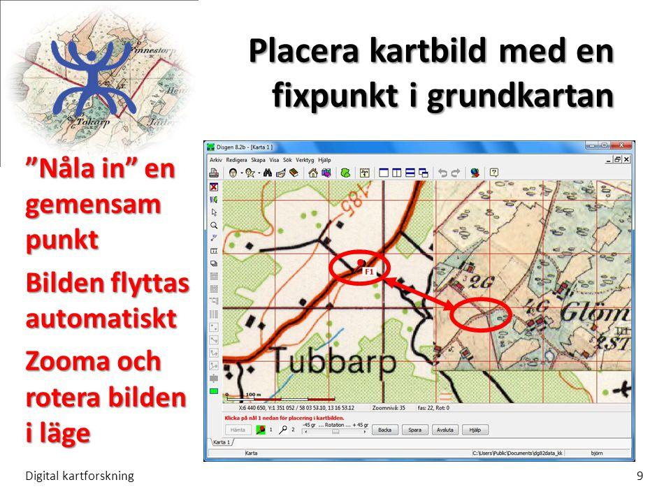 Placera kartbild med en fixpunkt i grundkartan