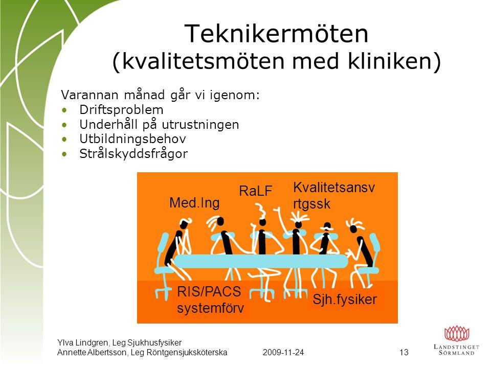 Teknikermöten (kvalitetsmöten med kliniken)