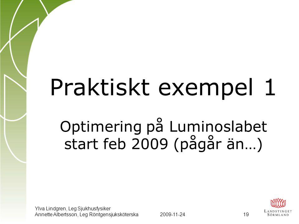Praktiskt exempel 1 Optimering på Luminoslabet start feb 2009 (pågår än…)