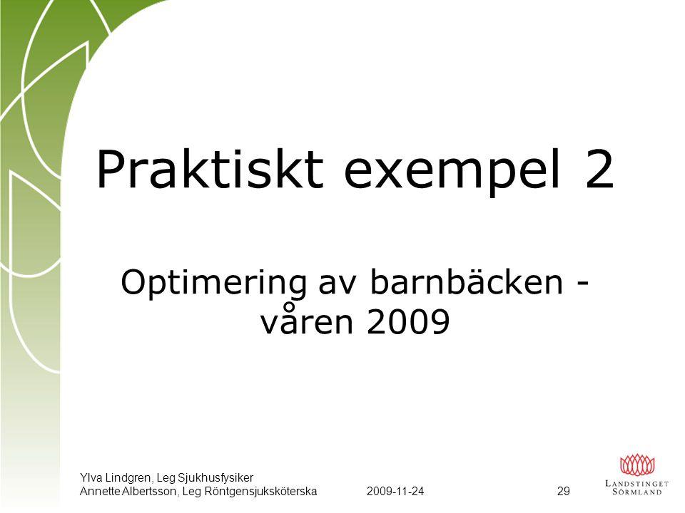Praktiskt exempel 2 Optimering av barnbäcken - våren 2009