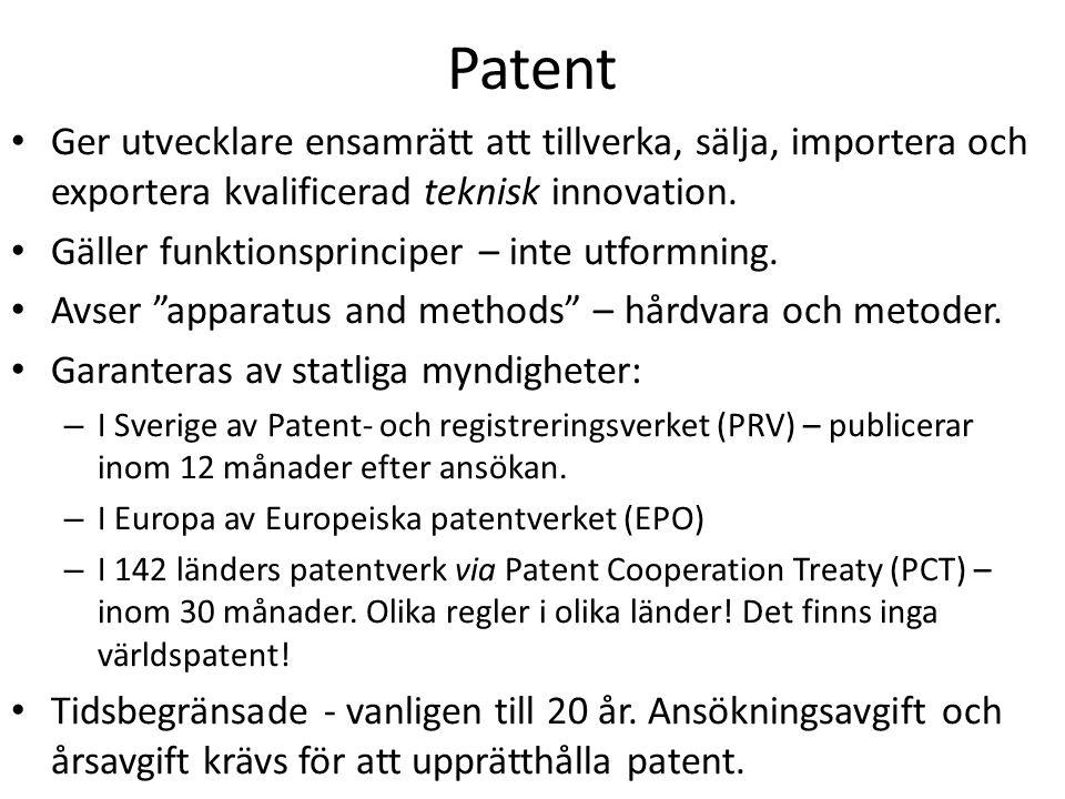 Patent Ger utvecklare ensamrätt att tillverka, sälja, importera och exportera kvalificerad teknisk innovation.