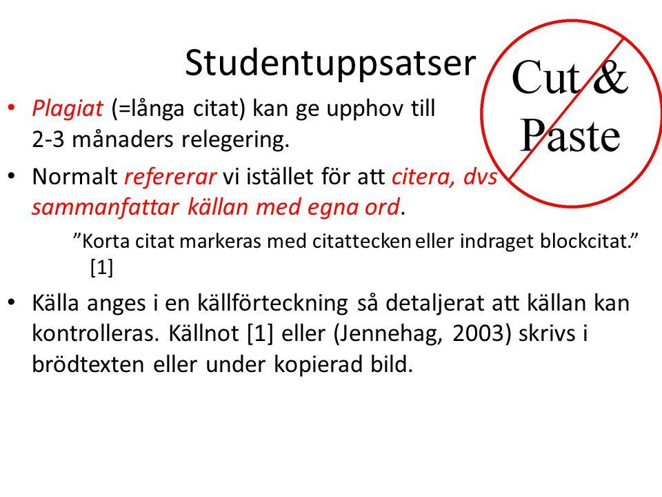 Studentuppsatser Plagiat (=långa citat) kan ge upphov till 2-3 månaders relegering.