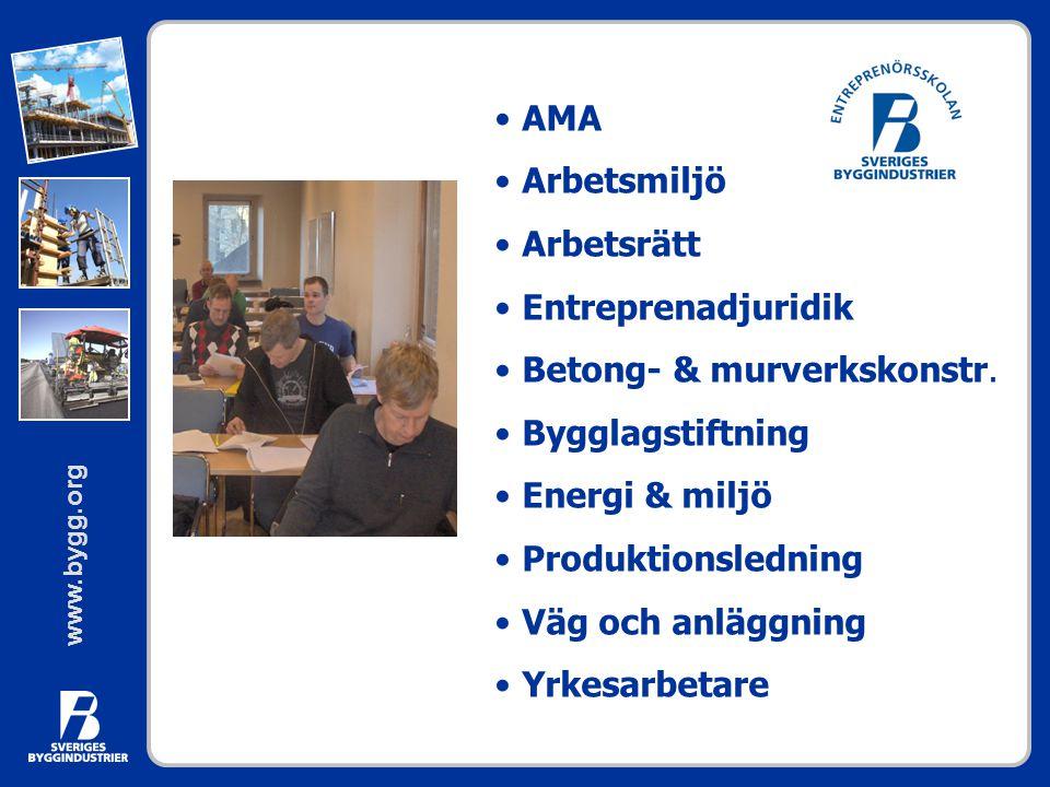 AMA Arbetsmiljö. Arbetsrätt. Entreprenadjuridik. Betong- & murverkskonstr. Bygglagstiftning. Energi & miljö.