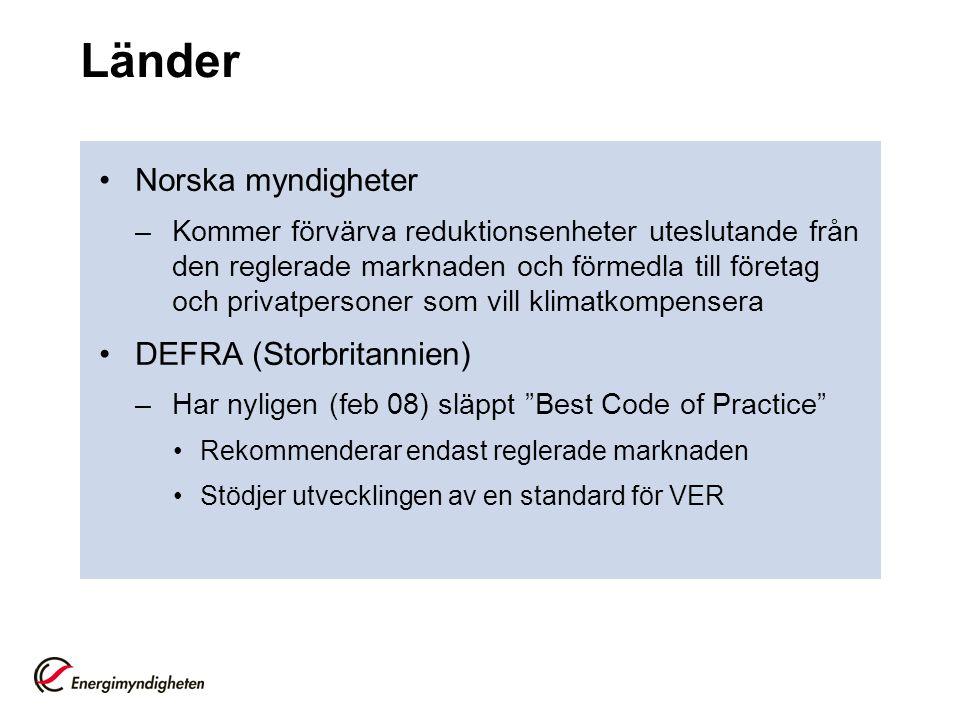 Länder Norska myndigheter DEFRA (Storbritannien)