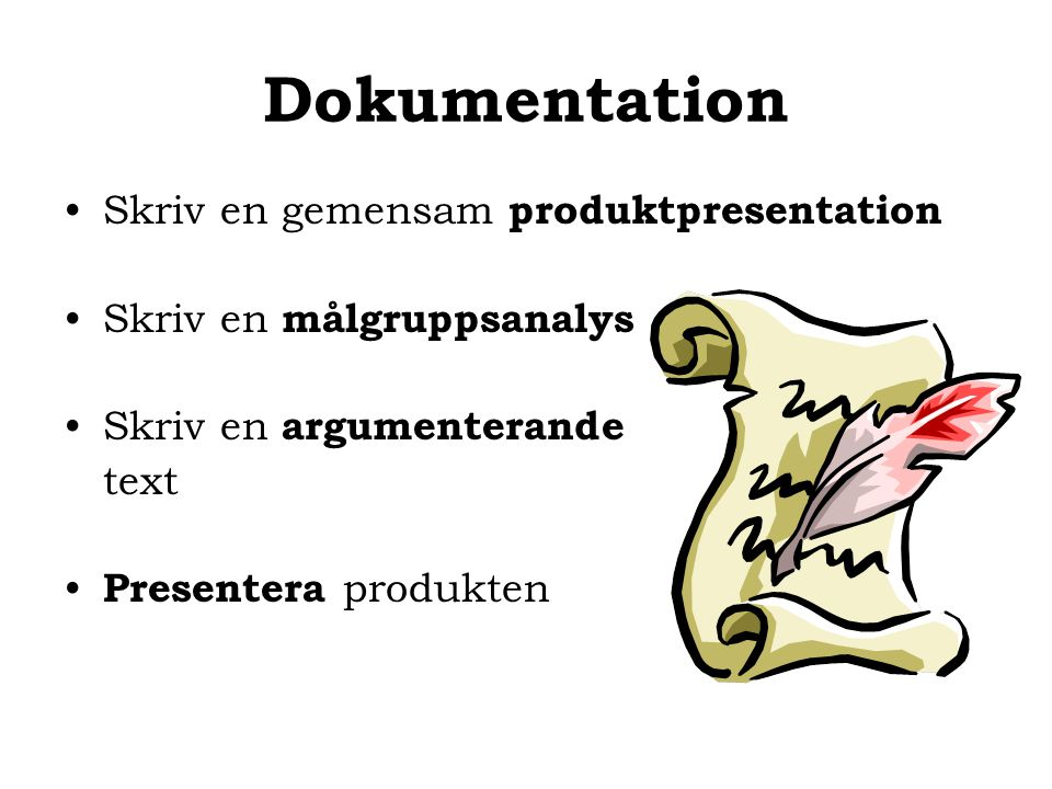 Dokumentation Skriv en gemensam produktpresentation