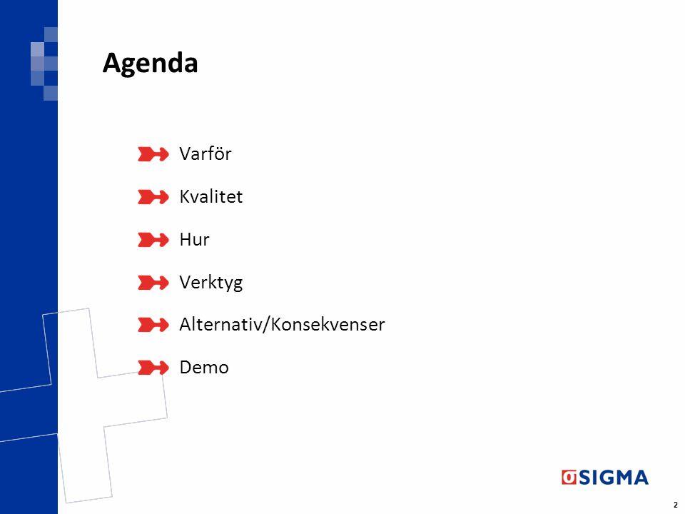Agenda Varför Kvalitet Hur Verktyg Alternativ/Konsekvenser Demo
