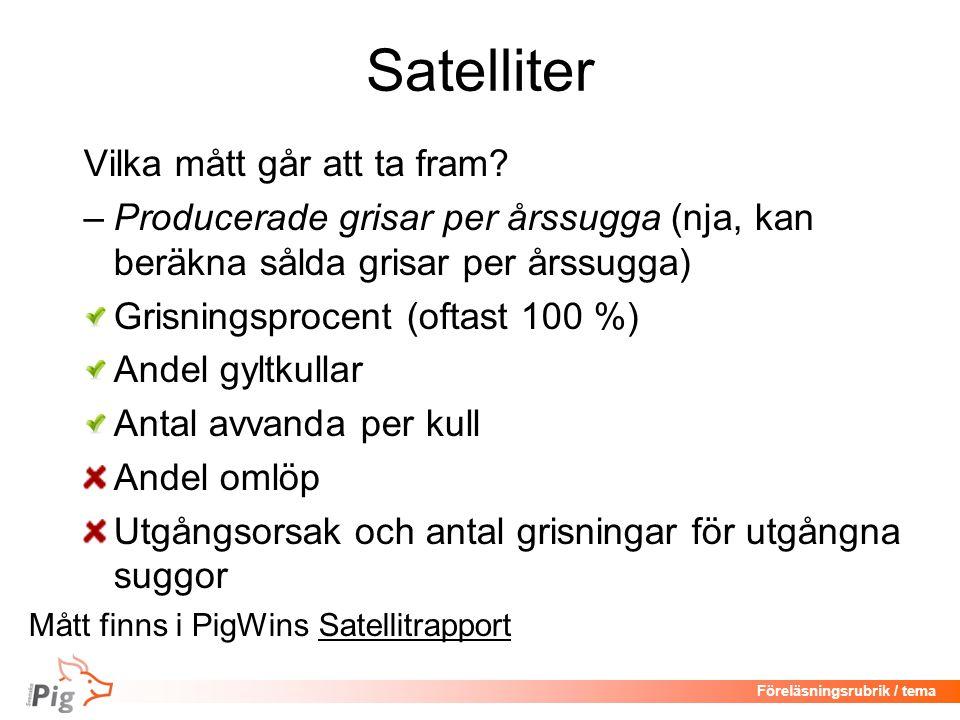 Satelliter Vilka mått går att ta fram