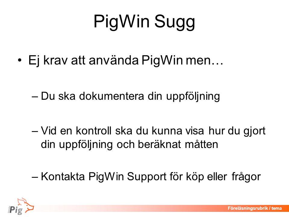 PigWin Sugg Ej krav att använda PigWin men…