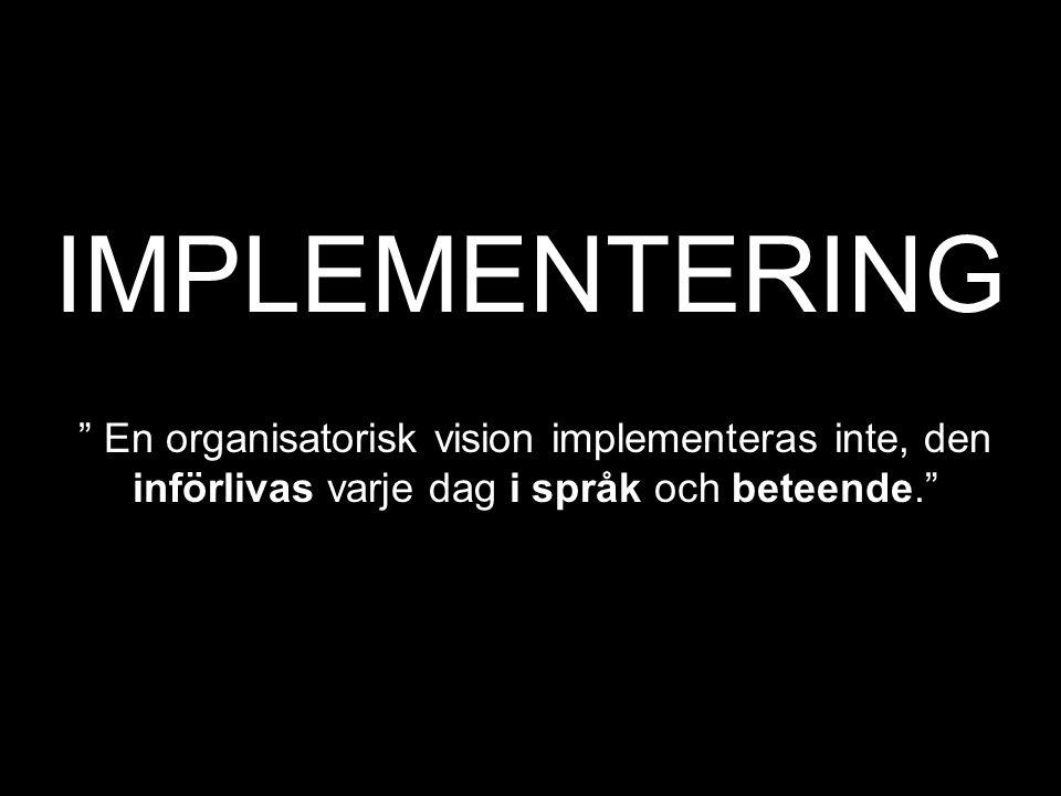 IMPLEMENTERING En organisatorisk vision implementeras inte, den införlivas varje dag i språk och beteende.