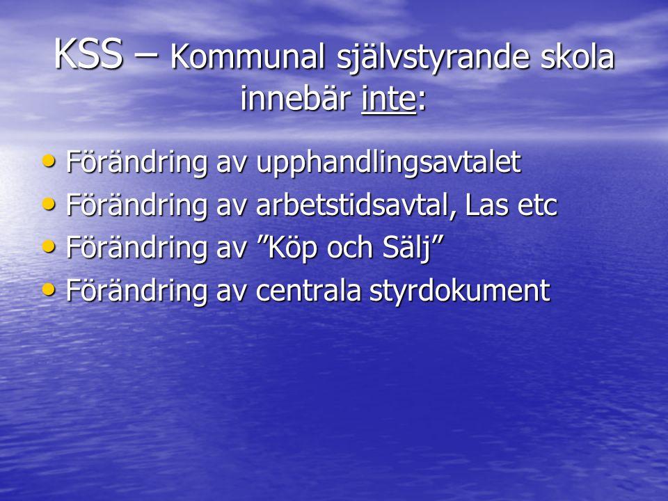 KSS – Kommunal självstyrande skola innebär inte: