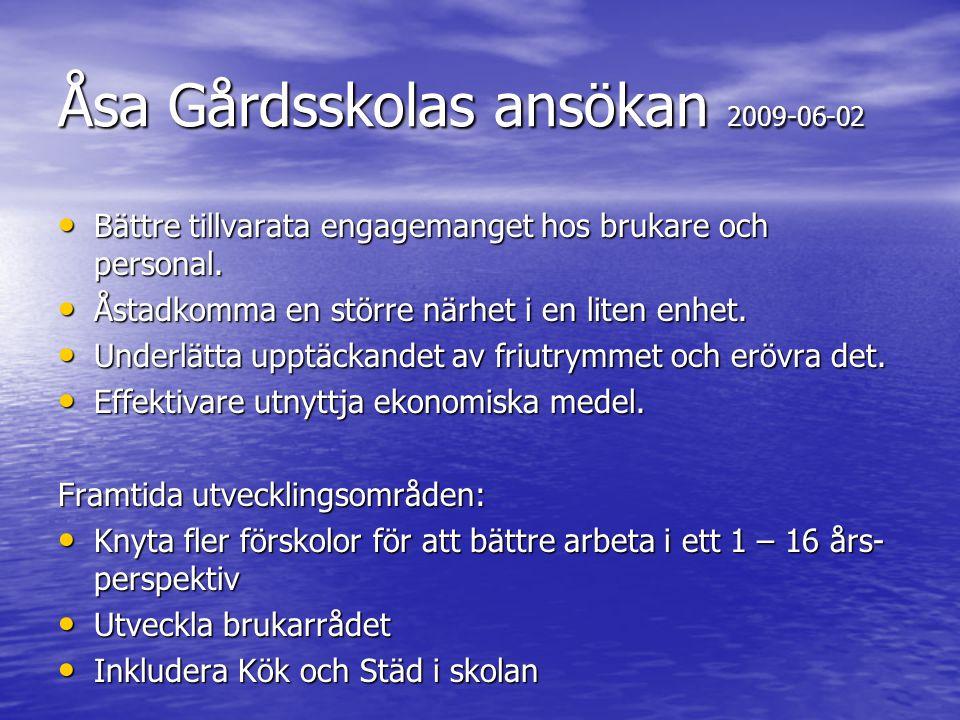 Åsa Gårdsskolas ansökan 2009-06-02