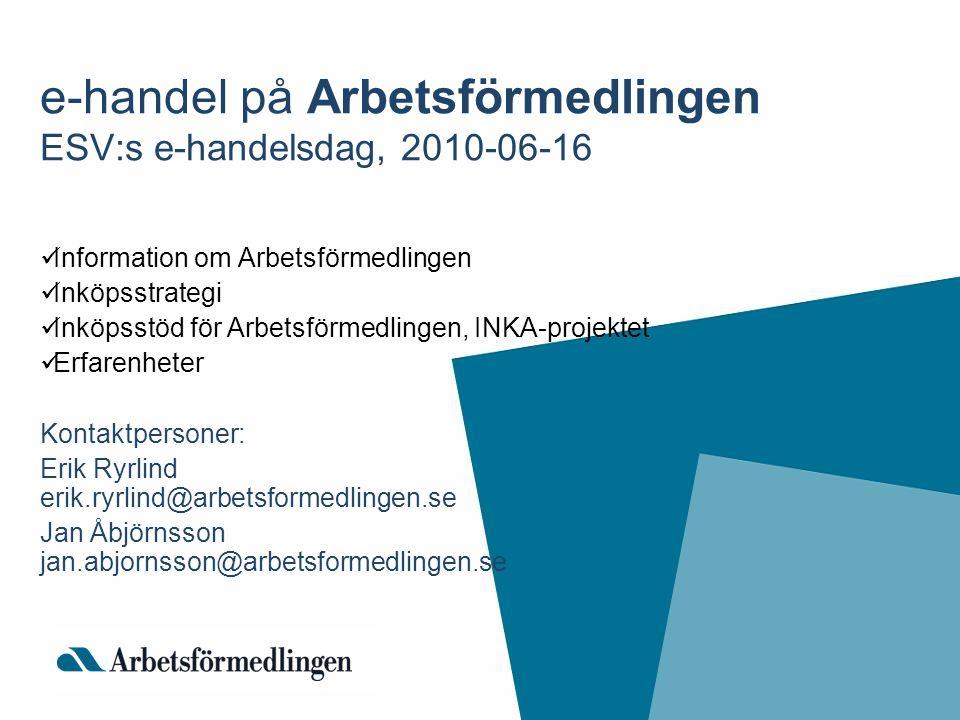 e-handel på Arbetsförmedlingen ESV:s e-handelsdag, 2010-06-16