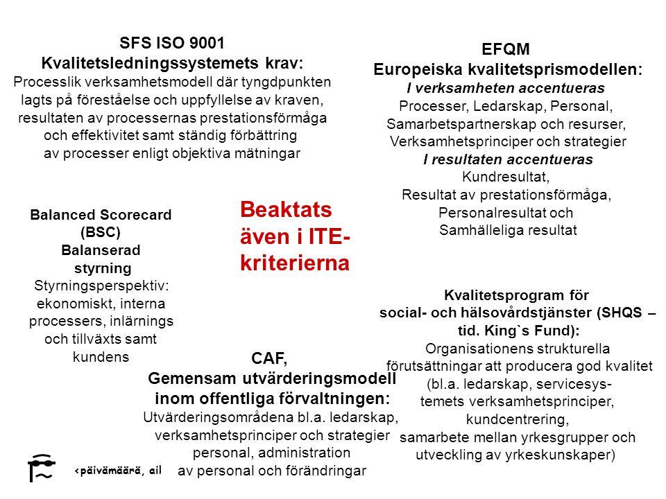 social- och hälsovårdstjänster (SHQS – Gemensam utvärderingsmodell