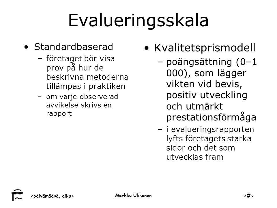 Evalueringsskala Kvalitetsprismodell Standardbaserad