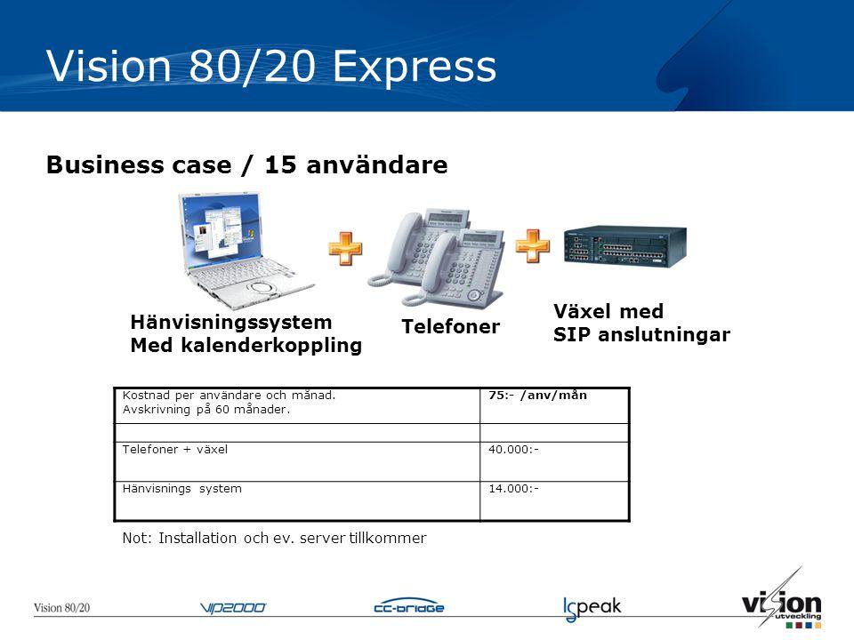 Vision 80/20 Express Business case / 15 användare Växel med