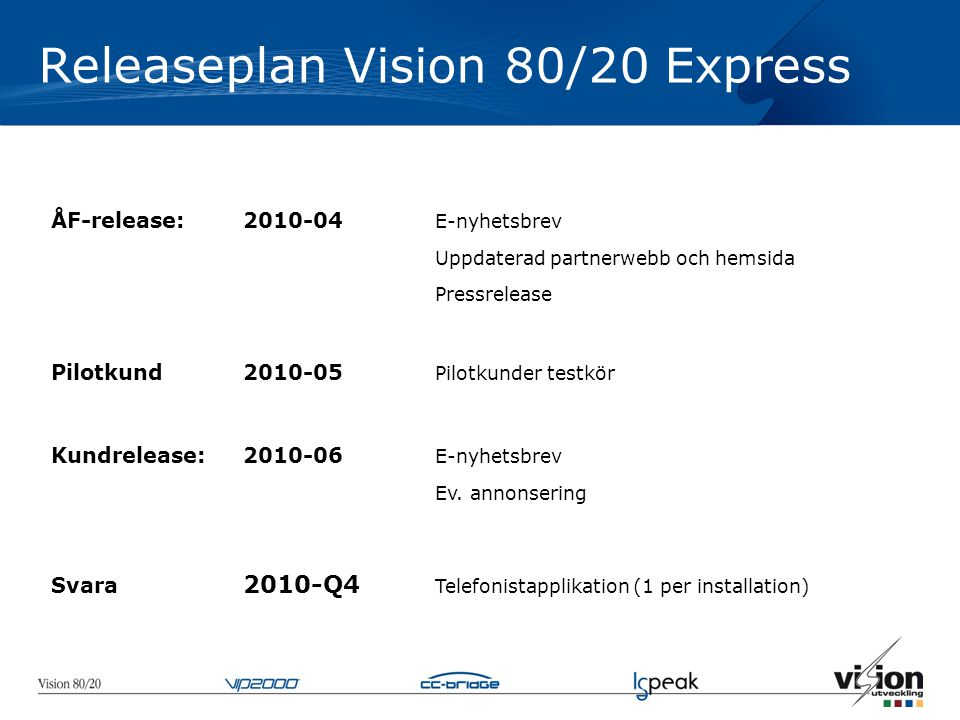 Releaseplan Vision 80/20 Express