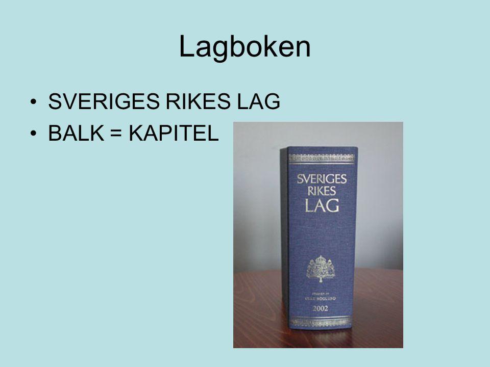 Lagboken SVERIGES RIKES LAG BALK = KAPITEL