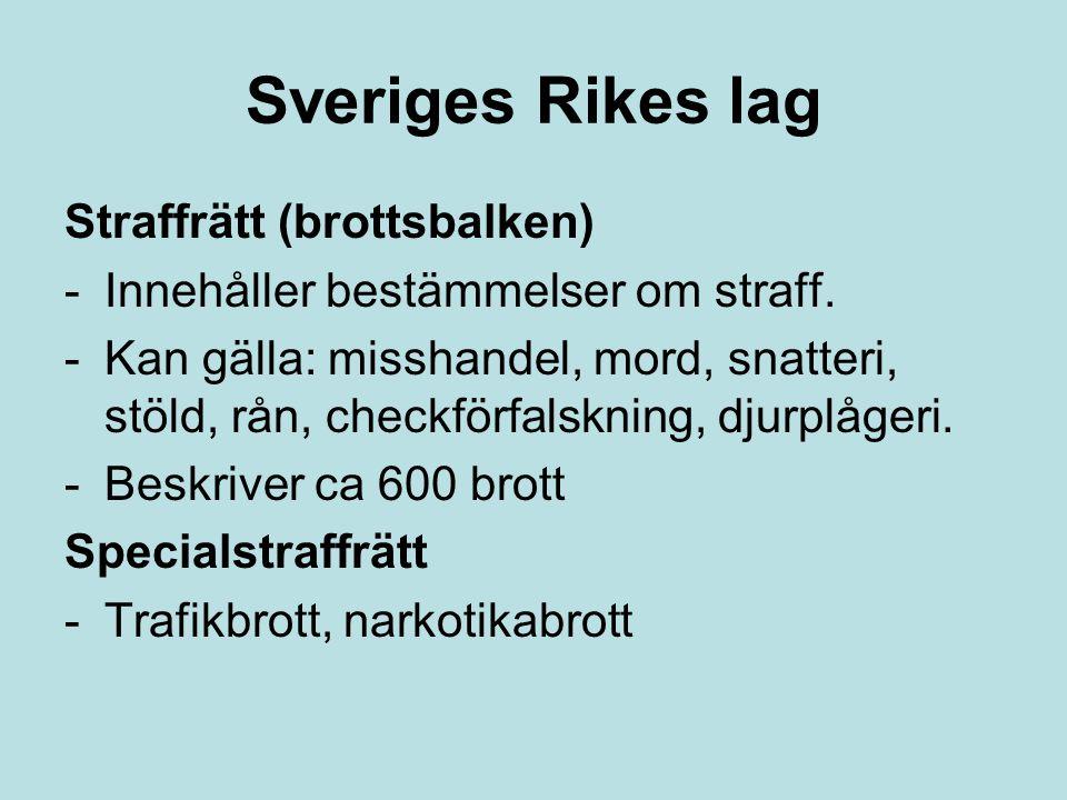 Sveriges Rikes lag Straffrätt (brottsbalken)