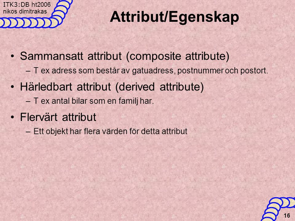 Attribut/Egenskap Sammansatt attribut (composite attribute)