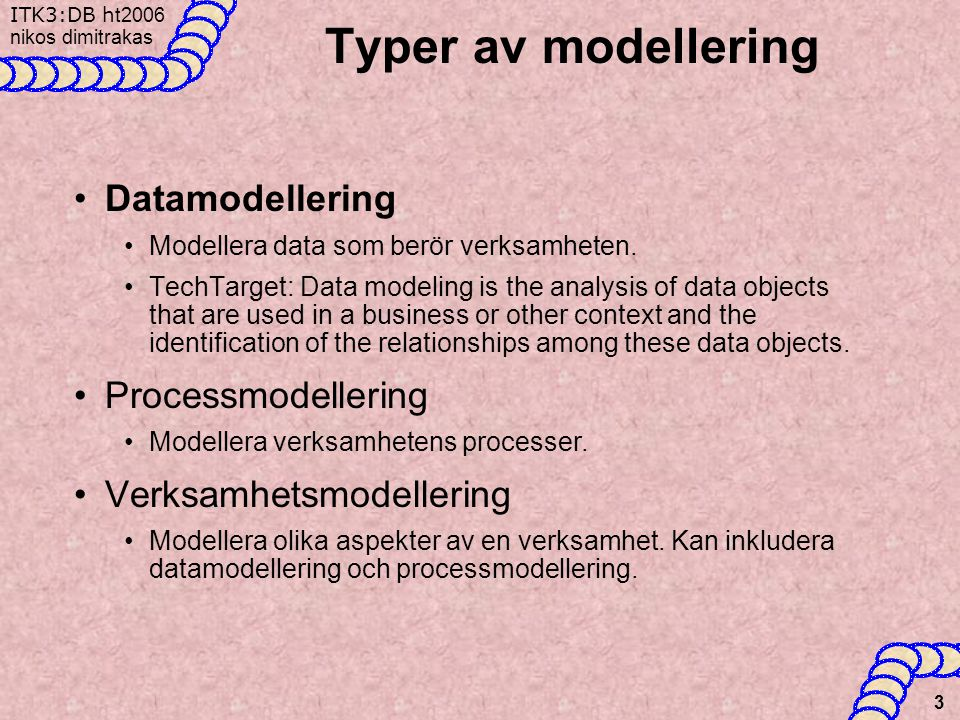 Typer av modellering Datamodellering Processmodellering