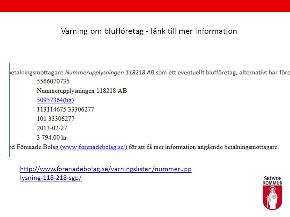 Varning om blufföretag - länk till mer information