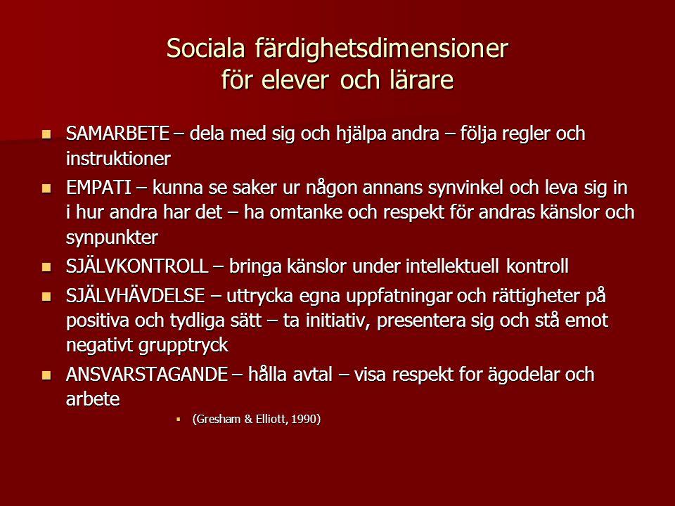 Sociala färdighetsdimensioner för elever och lärare