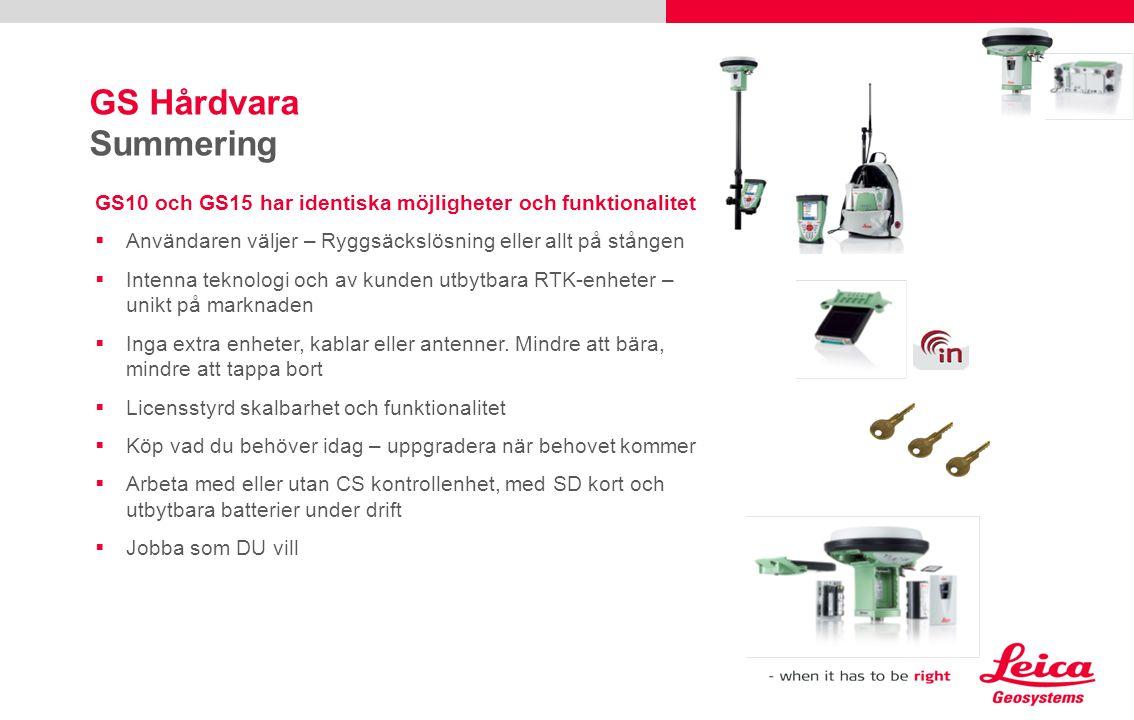 GS Hårdvara Summering GS10 och GS15 har identiska möjligheter och funktionalitet. Användaren väljer – Ryggsäckslösning eller allt på stången.