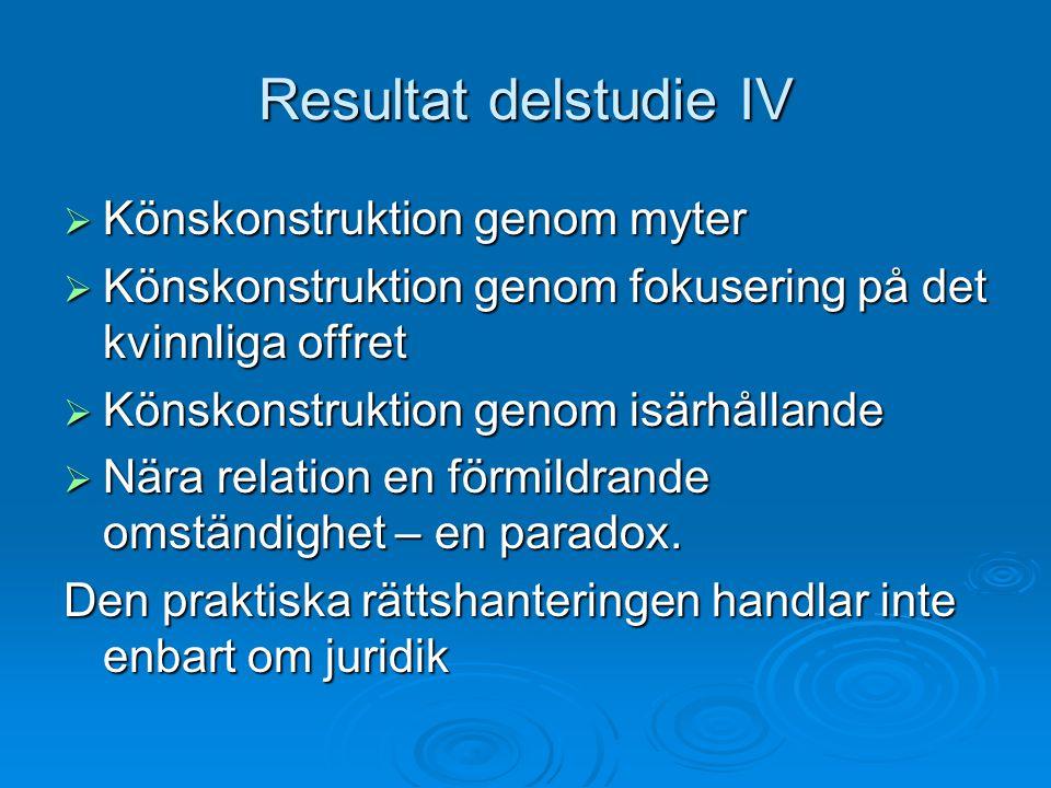 Resultat delstudie IV Könskonstruktion genom myter