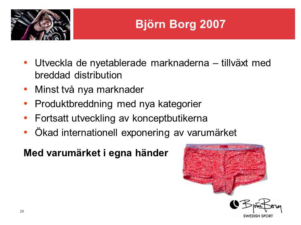 Björn Borg 2007 Utveckla de nyetablerade marknaderna – tillväxt med breddad distribution. Minst två nya marknader.