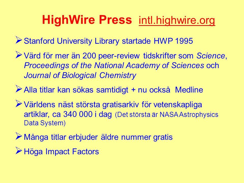 HighWire Press intl.highwire.org