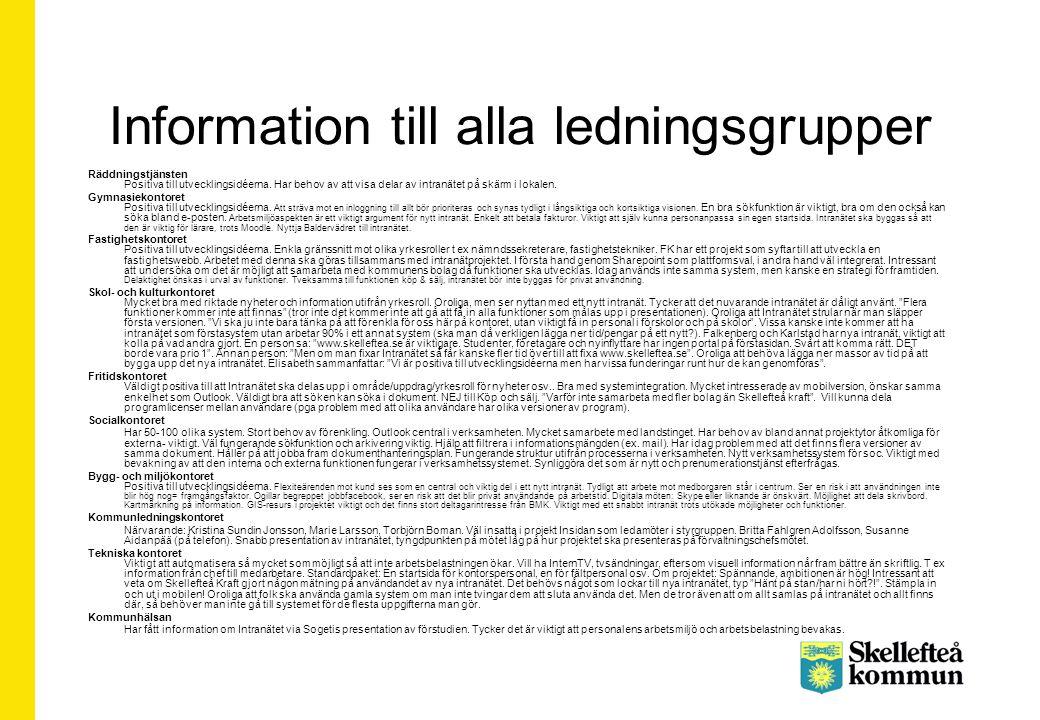 Information till alla ledningsgrupper