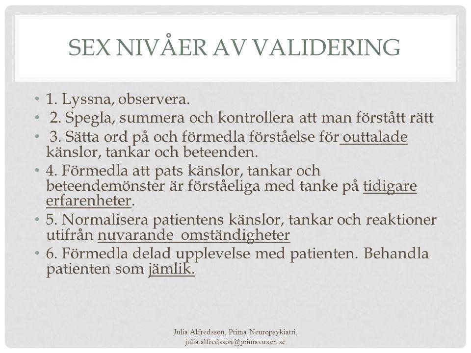 Sex nivåer av Validering