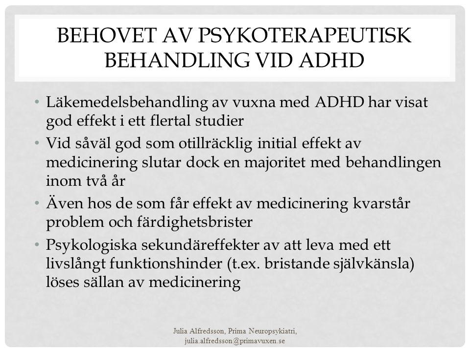 Behovet av psykoterapeutisk behandling vid ADHD