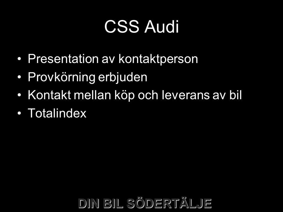 CSS Audi Presentation av kontaktperson Provkörning erbjuden