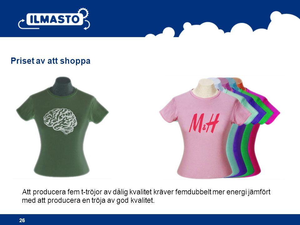 Priset av att shoppa Att producera fem t-tröjor av dålig kvalitet kräver femdubbelt mer energi jämfört med att producera en tröja av god kvalitet.