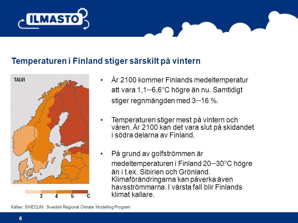 Temperaturen i Finland stiger särskilt på vintern