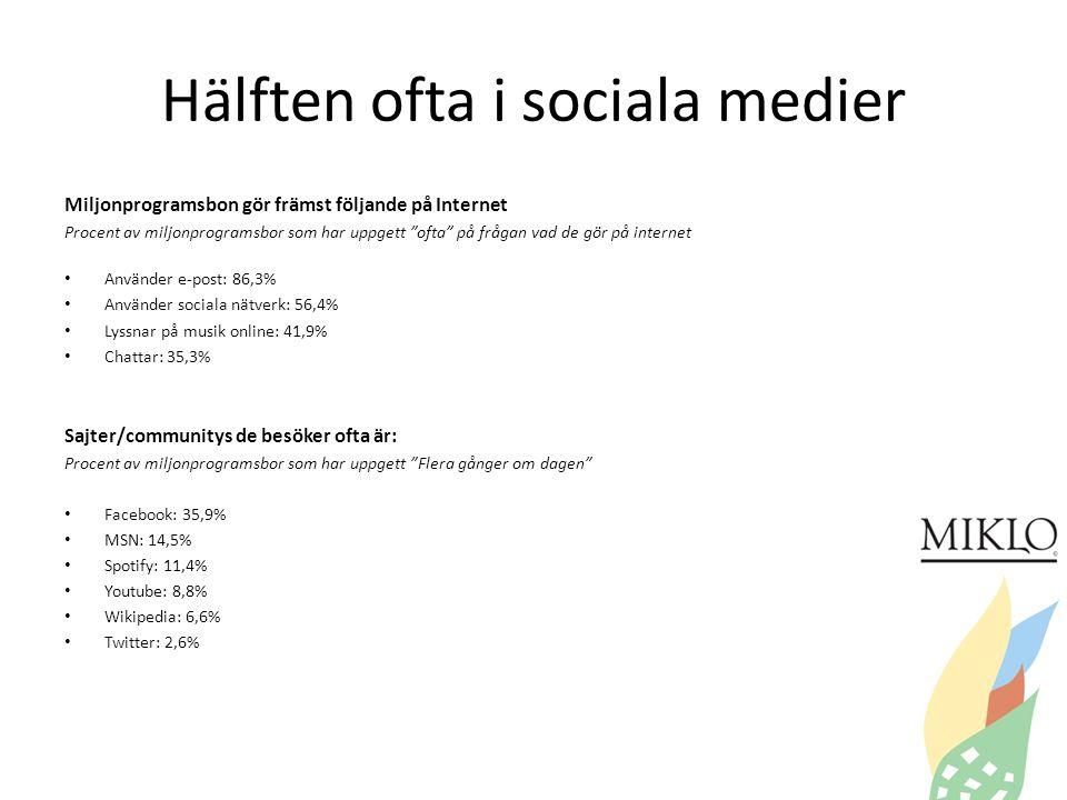 Hälften ofta i sociala medier