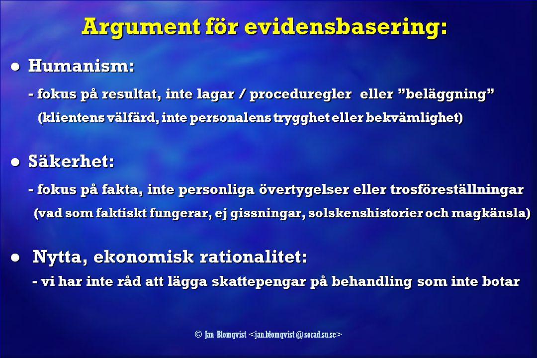Argument för evidensbasering: