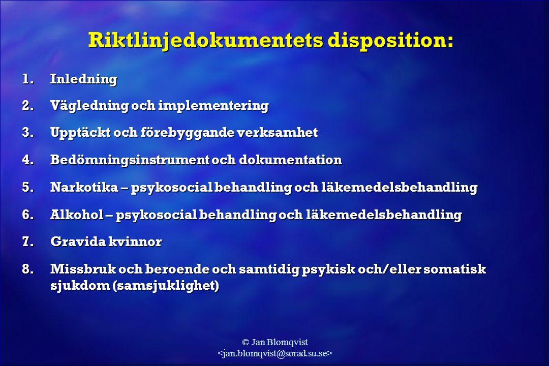 Riktlinjedokumentets disposition: