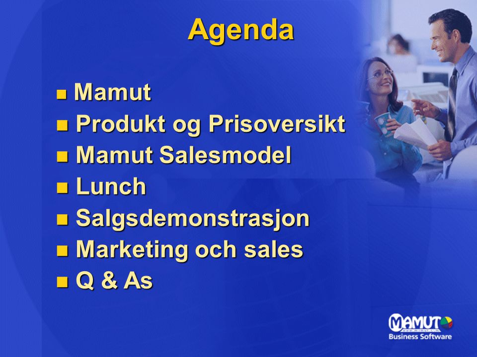 Agenda Produkt og Prisoversikt Mamut Salesmodel Lunch