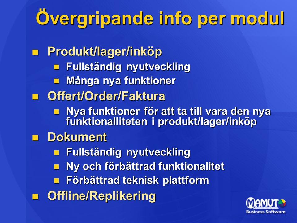 Övergripande info per modul