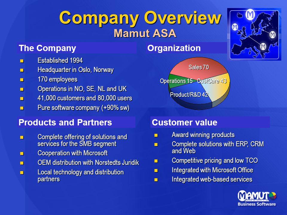 Company Overview Mamut ASA